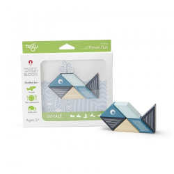 Whale, set din lemn magnetic - Tegu Travel Pals